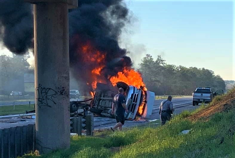 Fiery crash on I-26 Saturday morning