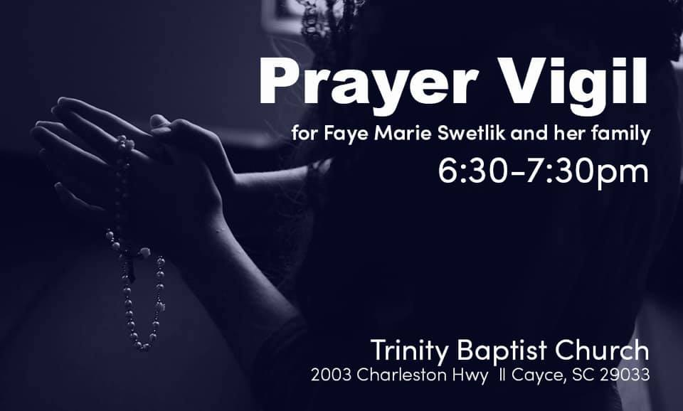 Trinity Baptist Church to hold prayer vigil for Faye Marie Swetlik, 6:30 p.m., Tuesday