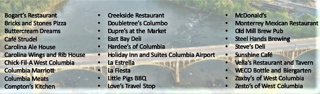 Cayce-West Columbia Chamber posts list of local restaurants providing service
