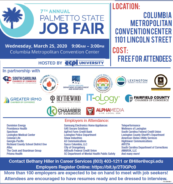 The Palmetto State Job Fair is March 25
