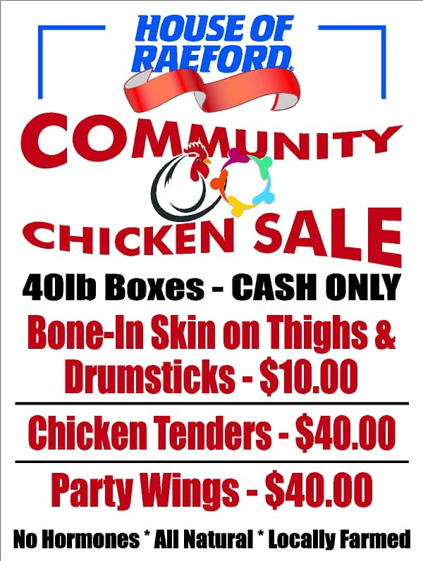 REMINDER – House of Raeford to hold another community chicken sale, Tuesday