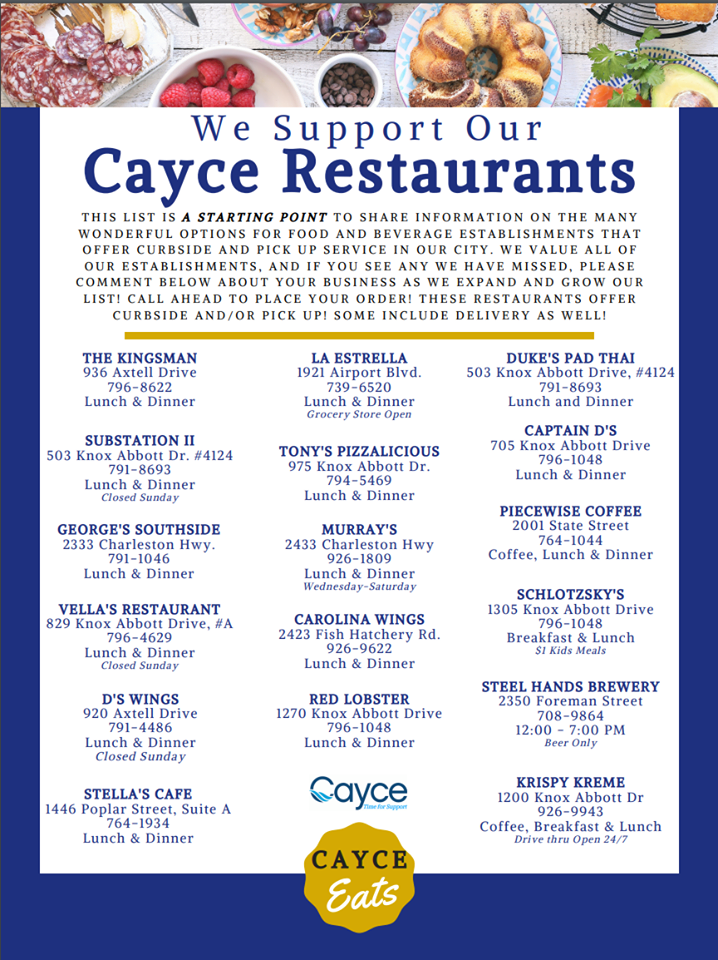 Cayce publishes list of pick-up and delivery restaurants