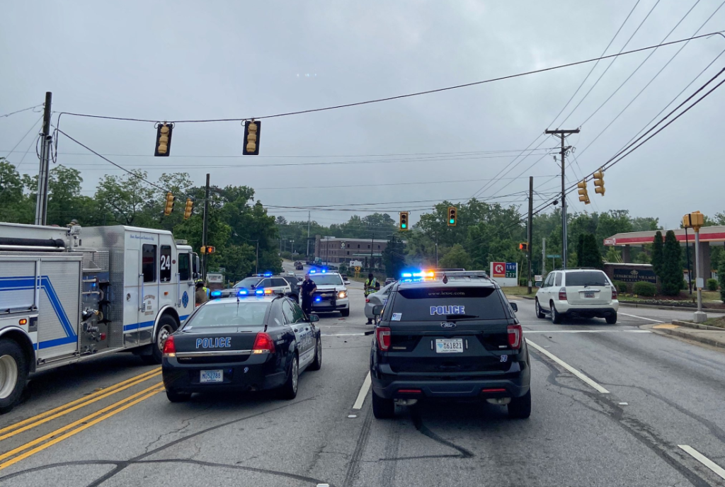 Lexington Police clear the road after crash
