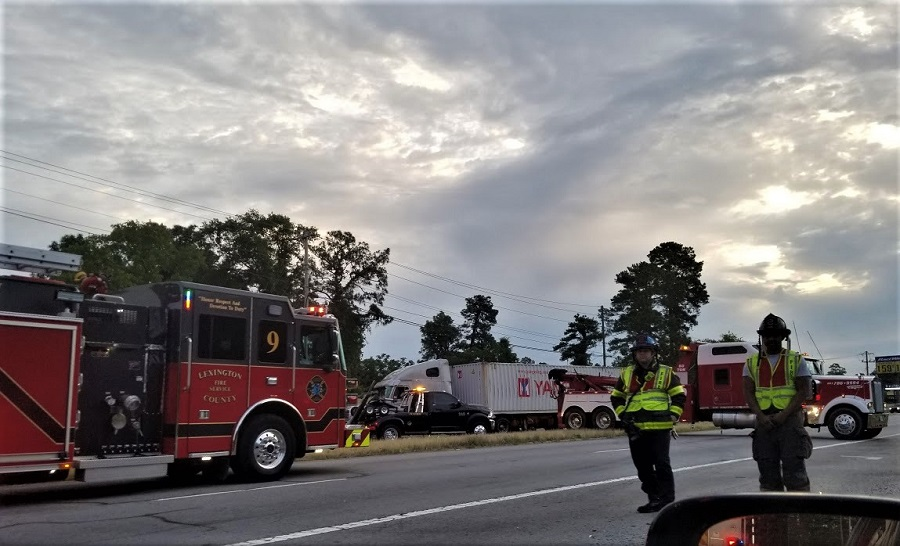 Truck overturns, blocks traffic lanes on Augusta Road, West Columbia